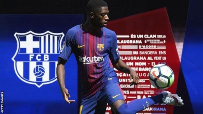 Ousmane Dembele was presented on the pitch at the Nou Camp on Monday