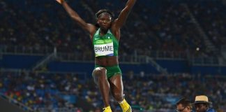 Ese Brume has won a bronze medal in the women's long jump event