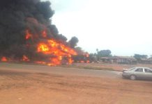 FILE PHOTO: A fuel tanker accident on Lagos-Ibadan expressway