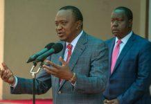 Kenya's President Uhuru Kenyatta (L)