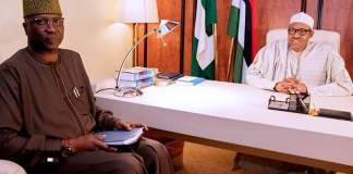 President Muhammadu Buhari with Boss Mustapha, Secretary to the Government of the Federation