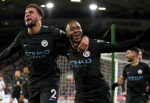City players celebrates Sterling winner