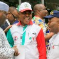 FILE: PDP bigwig Atiku Abubakar, Uche Secondus, PDP national chairman, with Senator Godswill Akpabio