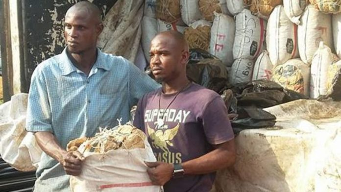The suspects with the bags of cannabis marijuana