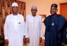 President Muhammadu Buhari flanked by Senate President, Bukola Saraki and Speaker House of Representatives, Yakubu Dogara met over Plateau killings