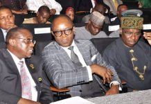Group Managing Director, Nigerian National Petroleum Corporation (NNPC), Dr. Maikanti Baru (left); Minister of State for Petroleum, Dr. Ibe Kachikwu and Director General, Nigerian Maritime Administration and Safety Agency (NIMASA), Dr. Dakuku Peterside; at a meeting on change in trade terms from Free On Board (FOB) to Cost Insurance and Freight (CIF) in Abuja.