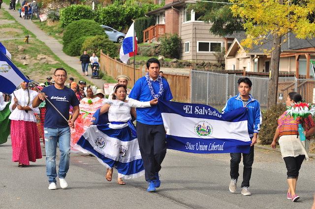 Some Salvadorans on a parade in Seattle, Washington
