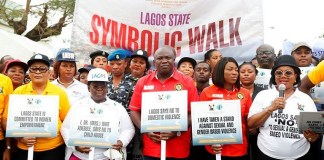Governor Akinwunmi Ambode joined the advocacy walk against sexual and gender based violence to show support for our women
