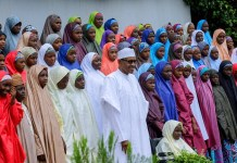 President Muhammadu Buhari met with released Dapchi schoolgirls in Abuja, Nigeria's capital