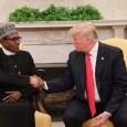 President Muhammadu Buhari and President Donald Trump shake hands in the White House