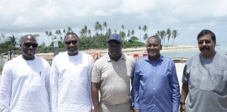 FILE PHOTO: Governor Akinwunmi Ambode flanked Aliko Dangote and Femi Otedola during inspection of projects at the Lekki Free Trade Zone
