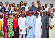 President Muhammadu Buhari and the Nigerian youths behind #NotTooYoungToRun