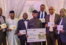 Vice President Yemi Osinbajo, SAN with Perm Sec of Ministry of Industry Trade and Investment, E. S. Akpan; Min of State for health: Dr. Esagie Ehanire; Hon. Min of health: Prof. Isaac Adewole; DG of Consumer Protection Council (CPC): Babatunde Irukera; Chairman Governing Board, Consumer Protection Council (CPC): Barr. Emeka Nwankpa; Country Representative for World Health Organization (WHO), Rex Mpazanje during the unveiling of Patient's Bill of Right Illustration Guide