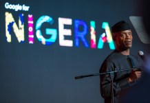 Vice President Yemi Osinbajo speaking at Google for Nigeria event where the tech firm announced takeoff of Google Stations in Nigeria