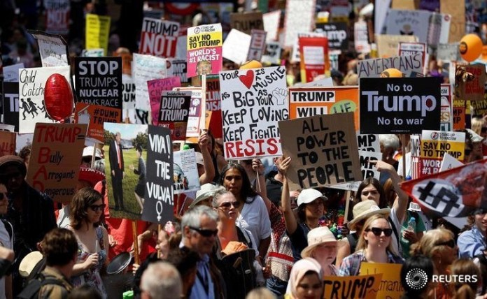 A massive anti-Trump protest was staged as US President Donald Trump visited the UK1