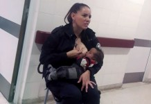 Argentine police officer Celeste Ayala breast feeding a neglected baby in a photo that has gone viral on social media