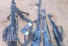 Nigeria Air Force recovered arms and ammunition after raiding kidnap kingpins den in Zamfara