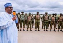 President Muhammadu Buhari met with troops of the Operation Diran Mikiya in Katsina