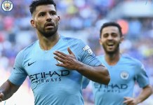 Sergio Aguero scored twice as Manchester City beat Chelsea 2-0 to win the Community Shield at Wembley
