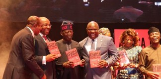 Governor Akinwumi Ambode shared a photo opportunity with national leader of the All Progressives Congress, Asiwaju Bola Tinubu at the launch of Jim Ovia's Africa Arise and Shine Book