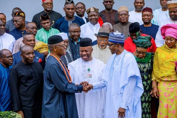 President Buhari received Akwa Ibom elders and political leaders including Senator Godswill Akpabio, Atuekong Don Etiebet, Senator John Akpan Udoedehe, Umana Okon Umana, Senator Aloysius Etok and Mr. Nsima Ekere