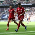 Roberto Firmino scores Liverpool's second as they beat Tottenham 2-1 at Wembley