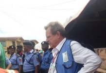 US Consul General in Lagos, John Bray observing the sorting of ballot papers in #OsunRerun