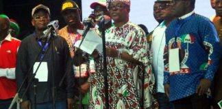 PDP national chairman, Prince Uche Secondus at the national convention in Port Harcourt, Rivers state
