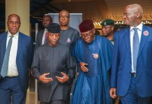 Vice President Yemi Osinbajo, SAN, attends Act Now town hall meeting alongside Min. of Industry, Trade and Investment, Dr. Okechukwu Enelamah.; Min. of Transportation, Mr. Rotimi Amaechi; Min. of Power, Works and Housing, Mr. Babatunde Raji Fashola;; Min. of Agriculture, Chief Audu Ogbe; held in Abuja. 12th November, 2018