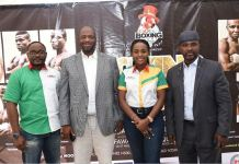 L-R: Chidozie Bede-Nwokoye, GOtv Senior Marketing Manager; Jenkins Alumona, Chief Executive Officer, Flykite Production; Jennifer Ukoh, GOtv Public Relations Manager and Remi Aboderin, NBB of C Secretary-General during the GOtv Boxing Night 17 Press Conference held at The Regent Hotel, Ikeja GRA