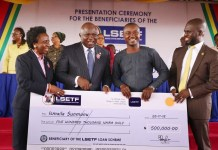 Governor Akinwunmi Ambode presenting cheques to new set of beneficiaries of the Lagos State Employment Trust Fund (LSETF)