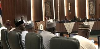 President Muhammadu Buhari in meeting Tripartite Committee on the review of National Minimum Wage led by Ms Amaopuoruba Amal Pepple