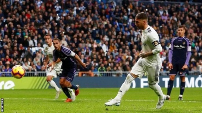 Sergio Ramos' last five La Liga goals have all come from penalties