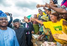 FILE PHOTO: Vice President Yemi Osinbajo interacting with Nigerians