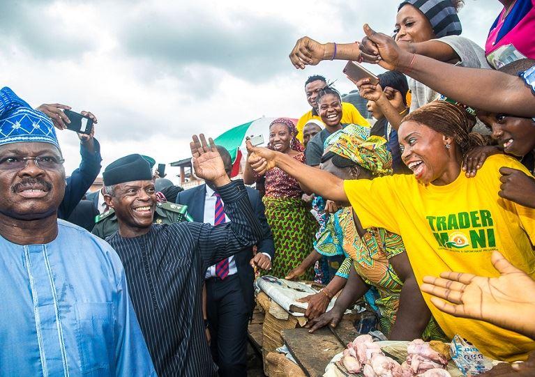 Vice President Yemi Osinbajo has taken TraderMoni to Bodija and Oje market in Ibadan, Oyo state
