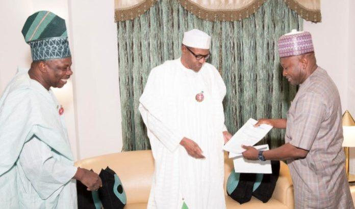 FILE PHOTO: Governor Amosun, President Muhammadu Buhari and APM chairman Yusuf Dantalle