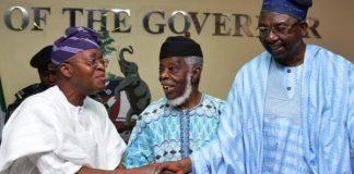 FILE: Afenifere leaders Pa Ayo Fasanmi and Senator Biyi Durojaiye with Governor Gboyega Oyetola endorse Buhari, Osinbajo reelection