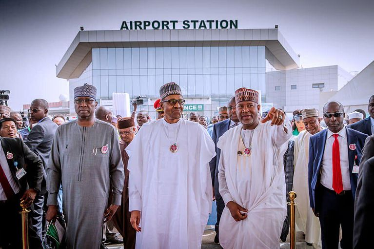 President Muhammadu Buhari arrive at the new Abuja airport terminal