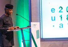 Vice President Yemi Osinbajo addressing the 2018 Africa_Europe high-level Forum in Vienna, Austria