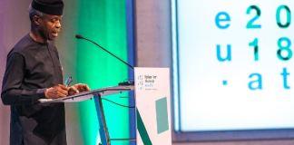 Vice President Yemi Osinbajo addressing the 2018 Africa_Europe high-level Forum in Vienna, Austria