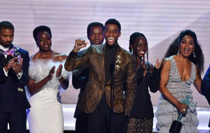 Chadwick Boseman and the Black Panther cast At the Actors Guild Awards