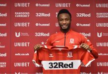 John Mikel Obi has completed his transfer to Championship side Middlesbrough