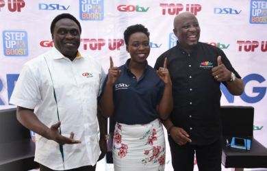 L-R; Mr Akin Salu, Executive Head of Sales, MultiChoice Nigeria; Seun Ikhekua, Head of Customer Value Management, MultiChoice Nigeria, Martin Mabutho, Chief Customer Officer, MultiChoice Nigeria, at the MultiChoice Step-Up Campaign Press Conference, yesterday