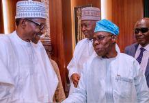 President Muhammadu Buhari and former President Olusegun Obasanjo at the Presidential Villa on Tuesday