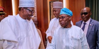 President Muhammadu Buhari and former President Olusegun Obasanjo at the Presidential Villa on Tuesday