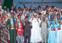 President Muhammadu Buhari and Vice President Yemi Osinbajo during unveiling of APC Presidential Council in Abuja