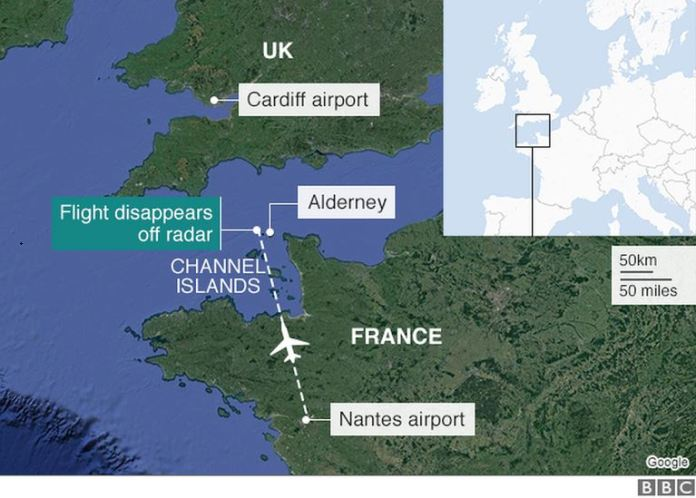 The flight disappeared off the radar in Alderney