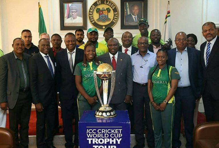 Governor Akinwunmi Ambode received the International Cricket Council (ICC) World Cup Trophy