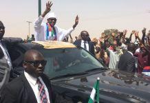 President Muhammadu Buhari arriving the stadium in Katsina
