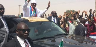 President Muhammadu Buhari arriving the stadium in Katsina